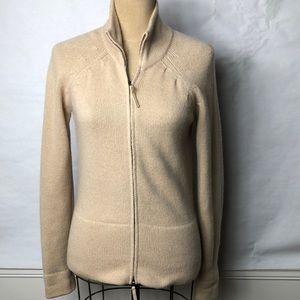 Ann Tayler cashmere zip front cardigan sweater
